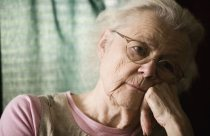 Close-up of senior woman in contemplation. Image shot 2006. Exact date unknown.